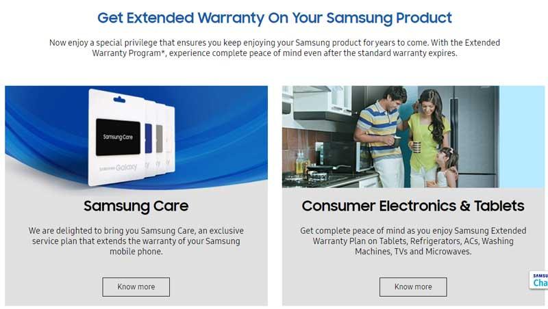 Samsung extended warranty status