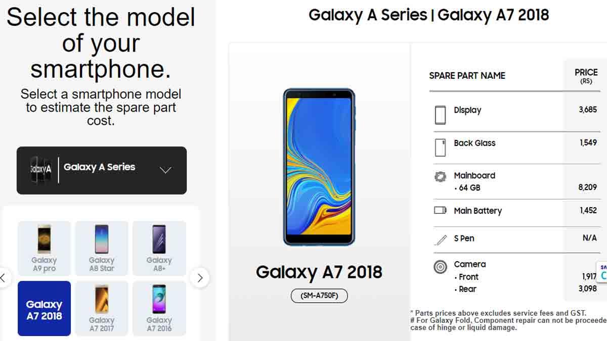 samsung galaxy a7 display folder & spare parts price
