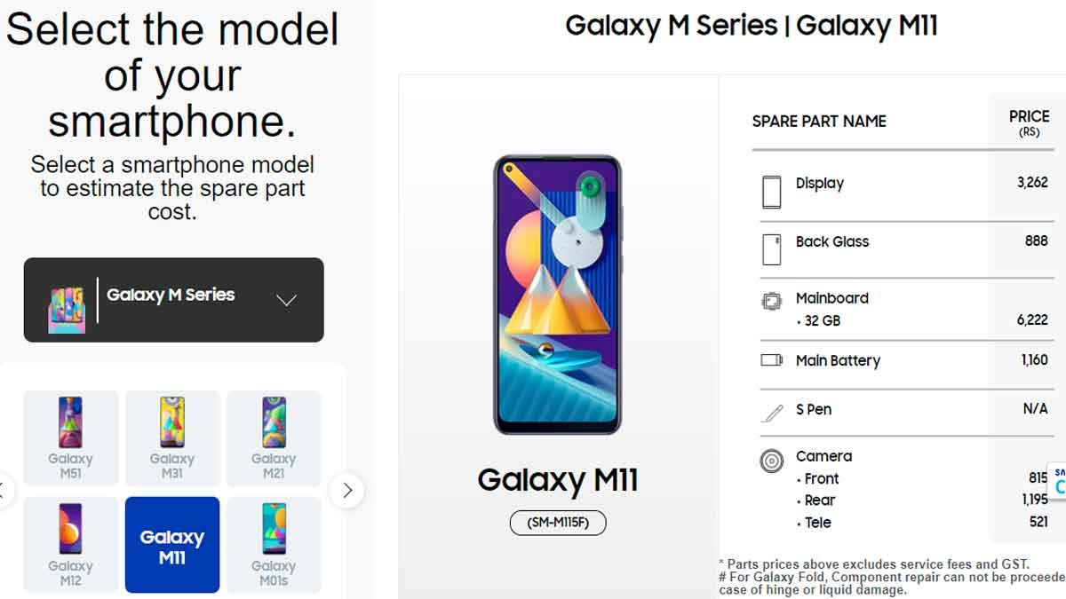 samsung galaxy m11 display & spare parts price